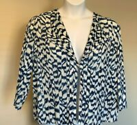 Chico's Travelers sz 3 or 16 Blue White Crinkle Lightweight Cardigan 3/4 Sl