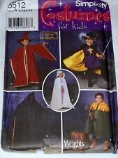Simplicity 5512 Costume Pattern Wizard Cape Child Size 3-8