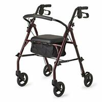 Healthcare Direct 100RA Steel Rollator Walker w/350 lb Weight Capacity, Burgundy