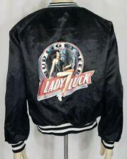Vintage black Bud Light Lady Luck Pin Up Girl snap button bomber jacket Medium