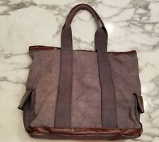 Pottery Barn Union Canvas Leather Trim Tote Bag Large 19X15X6 Recycled $125 VGUC