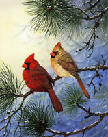 Cardinal on the branch Oil painting printed Art Printed on canvas L2727