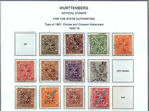 Wurttemberg  1906/19  State Authorities, MH.