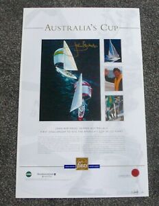 AUSTRALIA II  AMERICA'S CUP CHAMPIONS HAND SIGNED JOHN BERTRAND PRINT BEN LEXCEN