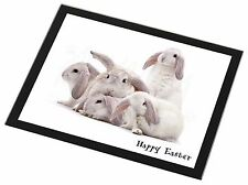 White Rabbits 'Happy Easter' Black Rim Glass Placemat Animal Table Gif, AR-5EAGP