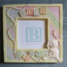 """BABY """"July"""" Birth Month PHOTO FRAME picture resin pastel keepsake 5""""x5"""" neutral"""
