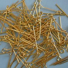 Gold Plated Eyepins  22mm- 100pcs.
