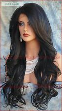 COLOR #1 Lace Front Wig LONG DELICATE WAVES SEDUCTIVE HOT STYLE USA SELLER 179