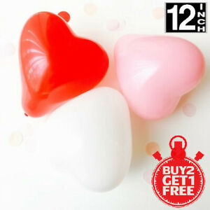 100 PACK RED/WHITE HEART SHAPE LOVE BALLONS Wedding Party Valentines Birthday
