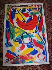 LARGE ABSTRACT clown 25 X 38 OIL-ACRYLIC PAINTING SIGNED MATTHEW BRZOSTOSKI
