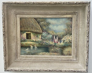 Original Oil Painting, Prairie House With Ducks In Pond. Signed Domina Painting