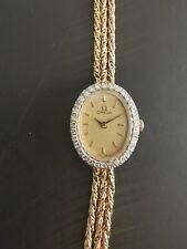 Vintage Ladies Omega Diamond 14K Yellow Gold 3 Rope Band 1455 Quartz Watch
