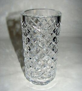 Waterford Cut Crystal Alana Footed Cylindrical Flower Vase Ireland signed 6""
