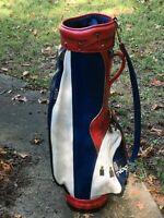 "Vintage Ben Hogan Red White & Blue 8"" Golf Cart Bag USA Made Rain Hood Vinyl"