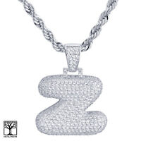 """Z Initial Silver Plated Custom Bubble Letter Iced CZ Pendant 24"""" Chain Necklace"""