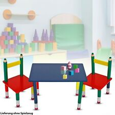 Children Table Group Chairs Solid Wood Lacquered Furniture Coloured Pencils