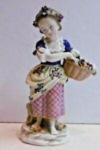 Antique German Porcelain Figure Saxe M in shield Girl Basket of Fruit