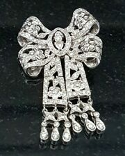 Antique Style Art Deco Diamond 18k White Gold Filigree Bow Pin Brooch Milgrain