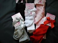 BABY , TODDLER & GIRL   BOW  TIGHTS WITH HEART PATTERN  VARIOUS  SIZES