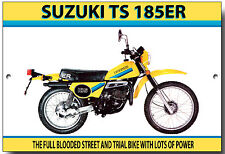 SUZUKI TS185ER ENAMELLED METAL SIGN.VINTAGE JAPANESE MOTORCYCLES,TRAIL BIKE
