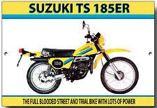 SUZUKI TS185ER ENAMELLED METAL SIGN.VINTAGE JAPANESE MOTORCYCLES,TRAIL BIKE.
