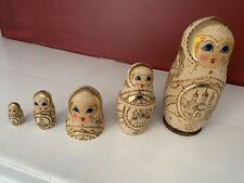 Kremlin 1993 Russian Matryoshka Nesting Dolls Wood Burned Gold Gilded Signed