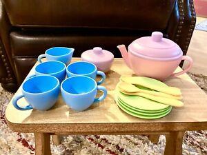 Green Toys Tea Set Play Kitchen Toy Pink Green Purple Yellow BPA Free