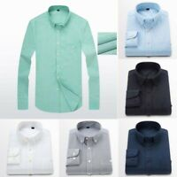 Plain Long Casual Sleeve Business Mens Cotton Oxford Shirt Formal Dress