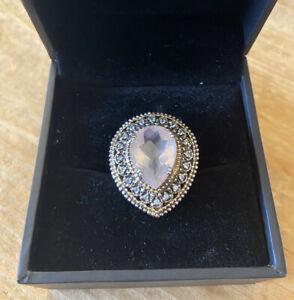 Beautiful ROSE QUARTZ & BLUE TOPAZ Ring - Sterling Silver & 7.37 Carats Size 9