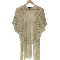 POL Women's Beige Boho Fringe Open Vest Diamond Crochet Pattern Sz L