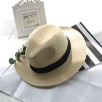 Beach Sun Hat Women Straw Panama Hat Handmade Flat Wide Brim Cowboy Cap Summer