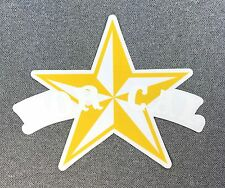NOR CAL Star Skateboard Sticker NORCAL si white-yellow on clear 5.2in