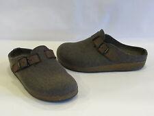 Haflinger Charcoal/Brown Leather/Wool Fabric Clogs/Slides 6.5M* – GR8!