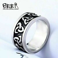 Men's Stainless Steel Ring Celtic Knot Band Silver Black Plating Totem Jewelry