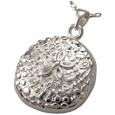 Sea Sand Dollar Ash Holder Cremation Urn Pendant Necklace Sterling Silver