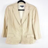 Brooks Brothers Womens Cream Single Breasted Peak Lapel Linen Workwear Blazer 16