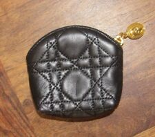 Authentic Christian Dior Coin Case Black Cannage Small Zip Coin Purse