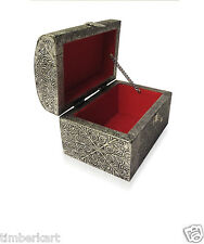 Wooden JEWELLERY BOX For Trinkets -Silver- Home Decorative Handicraft GIFT Item