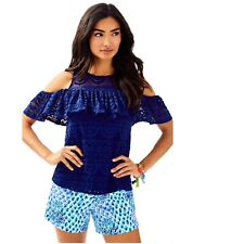 New LILLY PULITZER Small Lyra Top Lace Navy Blue Cold Off the Shoulder Ruffled S