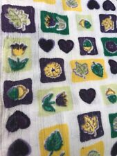"Vintage Fabric Hearts Green Purple 120""x72"" Light Fabric"