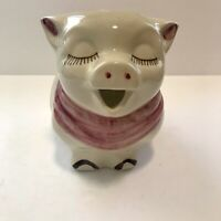 "Vintage Smiley Pig Milk Pitcher Shawnee Pottery USA -PINK SCARF, FLOWER 7.5"" EUC"