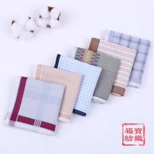Mens Handkerchiefs Hankies 100% Cotton Hanky Soft Business Pocket Square 43*43CM