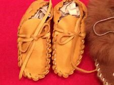 GOLDEN DEER HIDE BABY MOCCASSINS ~ GREAT FOR THE LITTLE ONES! ALL NATURAL!
