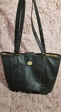 Vintage Brahmin Black Textured  Embossed Leather Tote Shoulder Bucket Handbag
