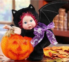 Halloween Plush Stuffed Baby Doll Bat Hugs a Color Changing LED Lighted Pumpkin