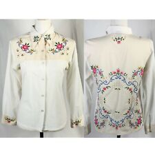 Vintage 1970's Floral Embroidered Button Down Western Shirt Size Medium
