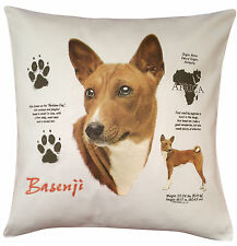 More details for basenji history breed of dog cotton cushion cover - perfect gift