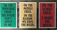 3 x WOODEN TIMBER POSTCARDS SIGN: OLDEST, MIDDLE, YOUNGEST CHILD RULES - NEW