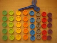 MB Games Downfall Spare Parts Counters 8 Different Colours / Key / Instructions