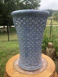 """Vintage Original Nelson McCoy Blue Basket Weave Vase 10"""" Tall 1940's"""